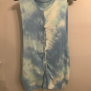 Tops - *3 for 12* Blue Stonewash Lace Back Tank
